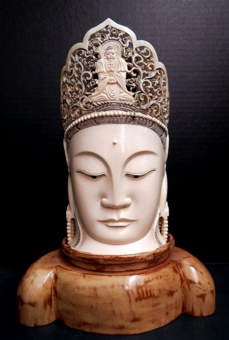 Chinese Hand Carved Ivory Head on Stand