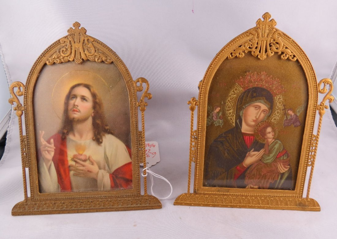 Pair of Antique Gilt Metal Picture Frame with Religion