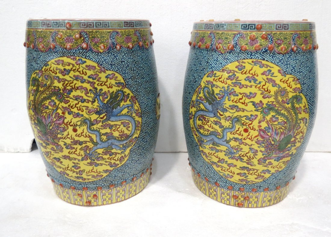 Antique Chinese Hand Painted Porcelain Garden Seats
