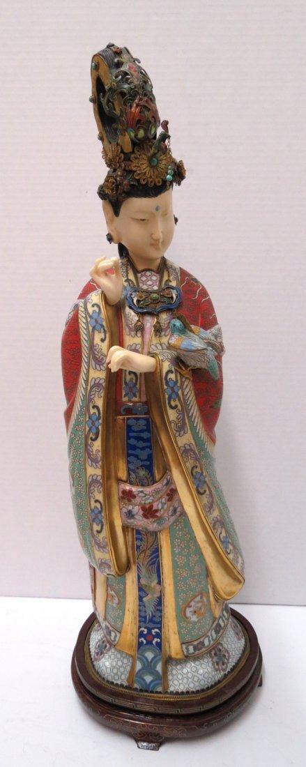 Antique Chinese Cloisonne & Ivory Quanyen Figure