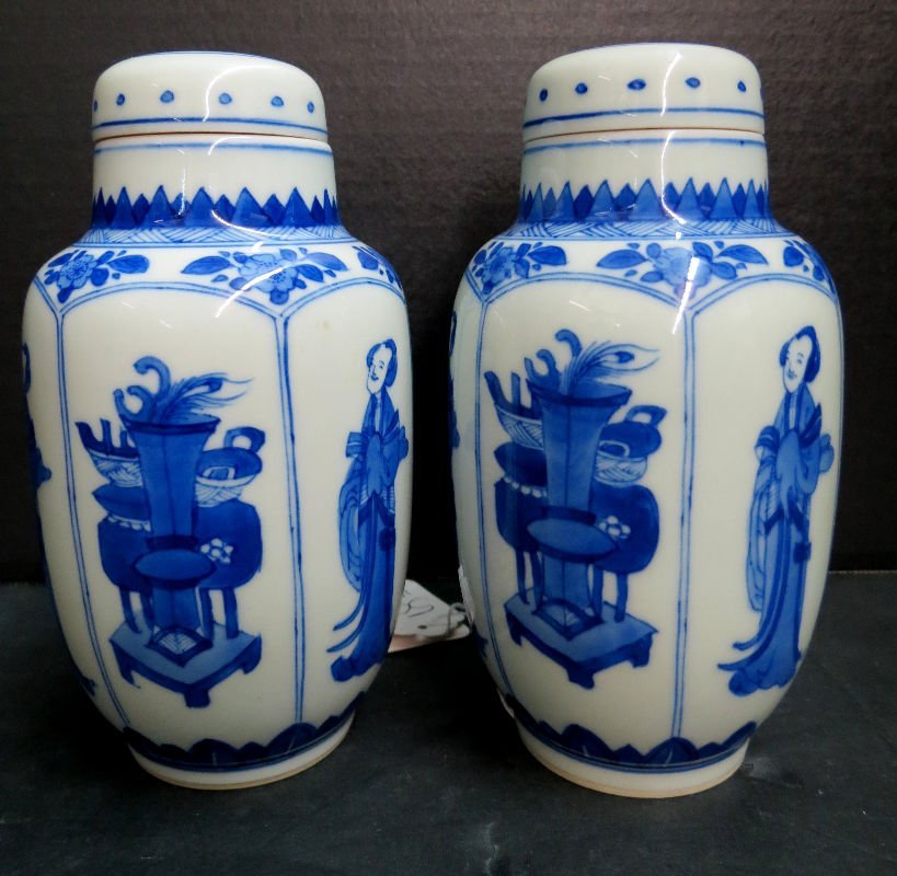 19th C. Chinese Hand Painted Blue & White Miniature