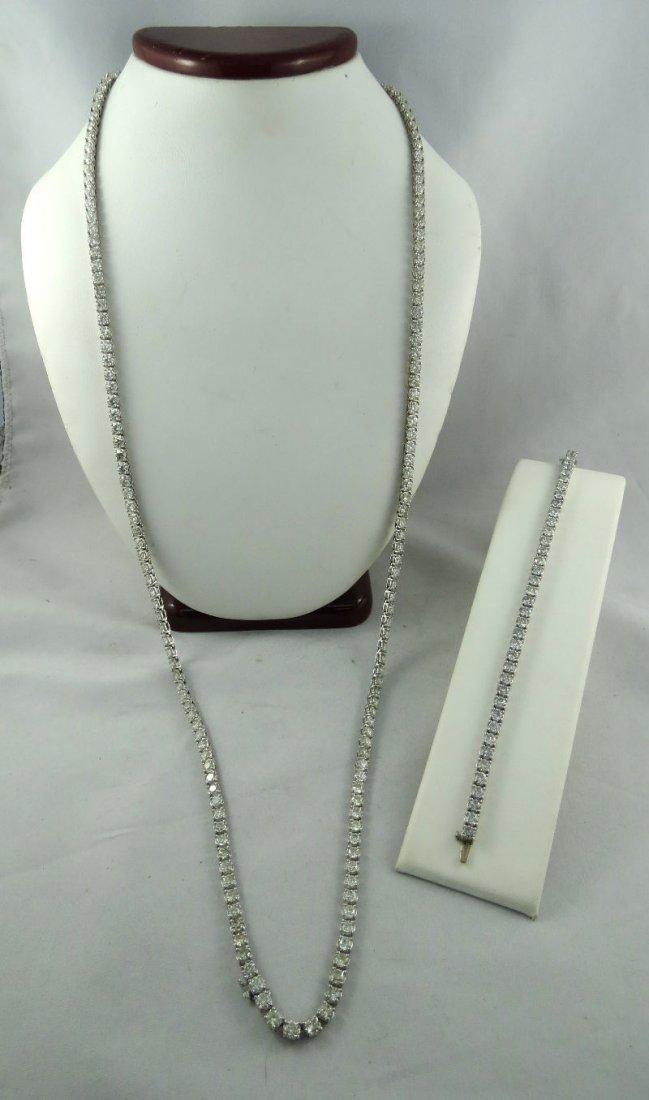 18Kt WG Diamond Necklace & Bracelet Suite