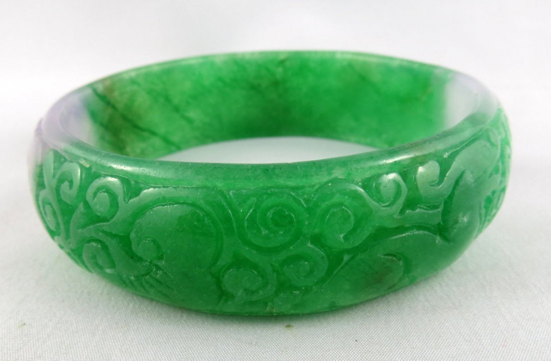 Chinese Flower Green Jade Bangle