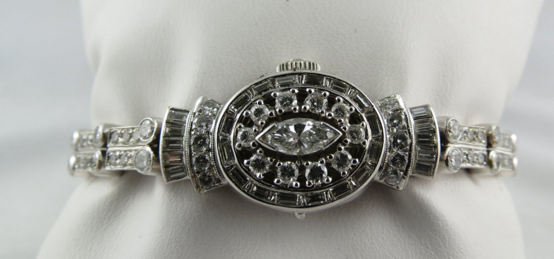 Lady Hamilton Platinum & 4ct Diamond Ladies Watch