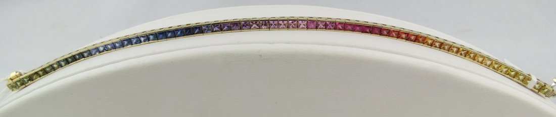 14Kt YG 7.70ct Princess Cut Fancy Sapphires Bracelet