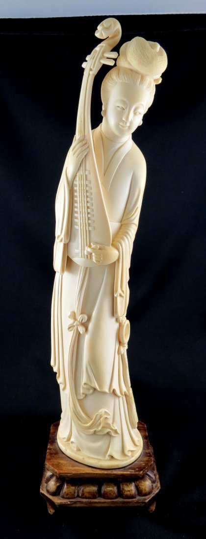 19th C. Chinese Hand Carved Ivory Quan Yen