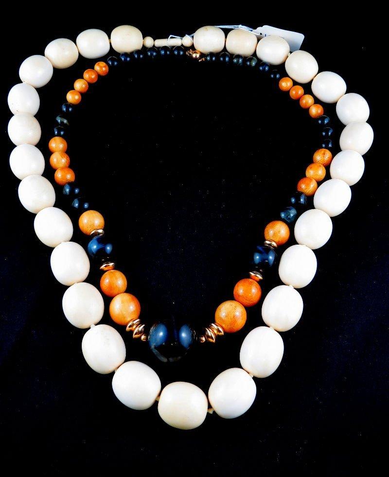 2 Large Chinese Ivory Beaded Necklace