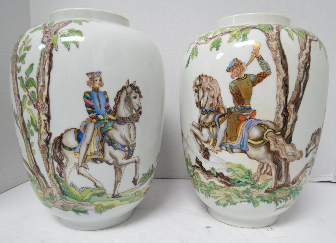 """Pair of Austrian Augarten Wien """"Hirschjagd"""" Vases by"""