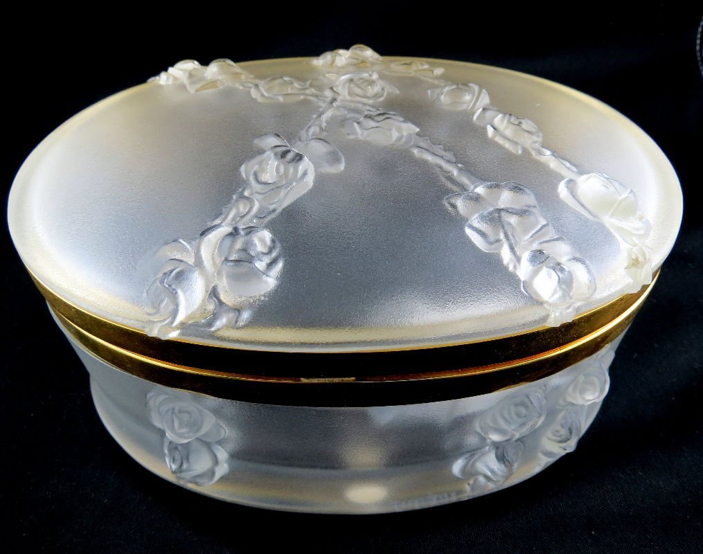 Lalique Copella Crystal Oval Covered Box