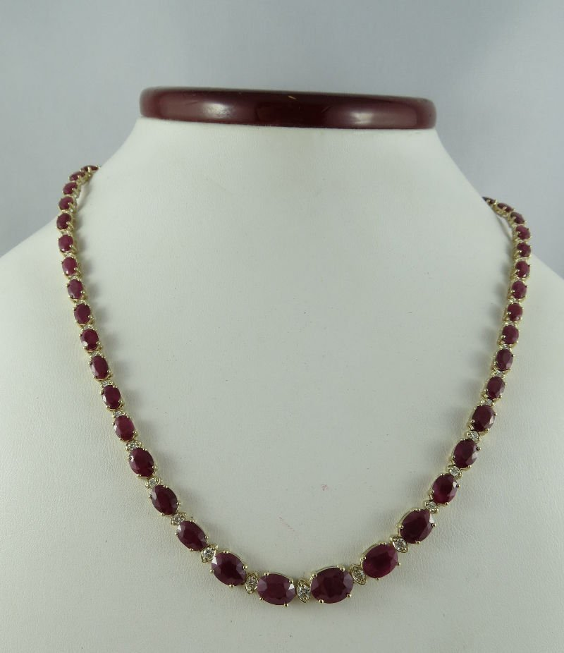 14Kt YG 1.13ct Diamond & 35.17ct Rubies Ladies Necklace