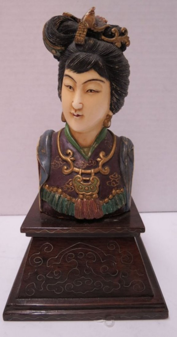 Antique Chinese Hand Carved Ivory & Polychrome Bust of