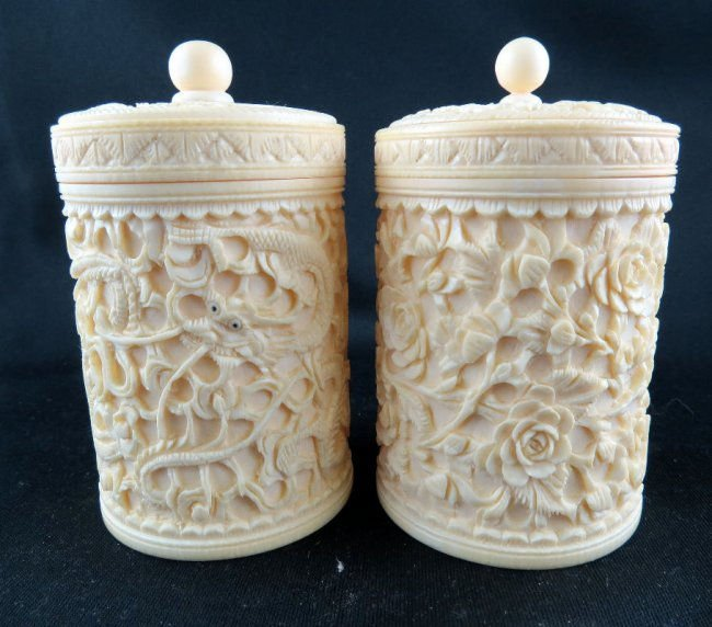 Pair of Chinese Hand Carved Ivory Jars