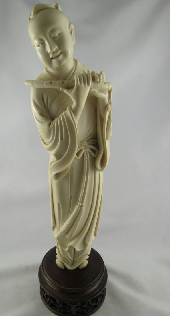 19th C. Chinese Ivory Hand Carved Figure of Man Playing