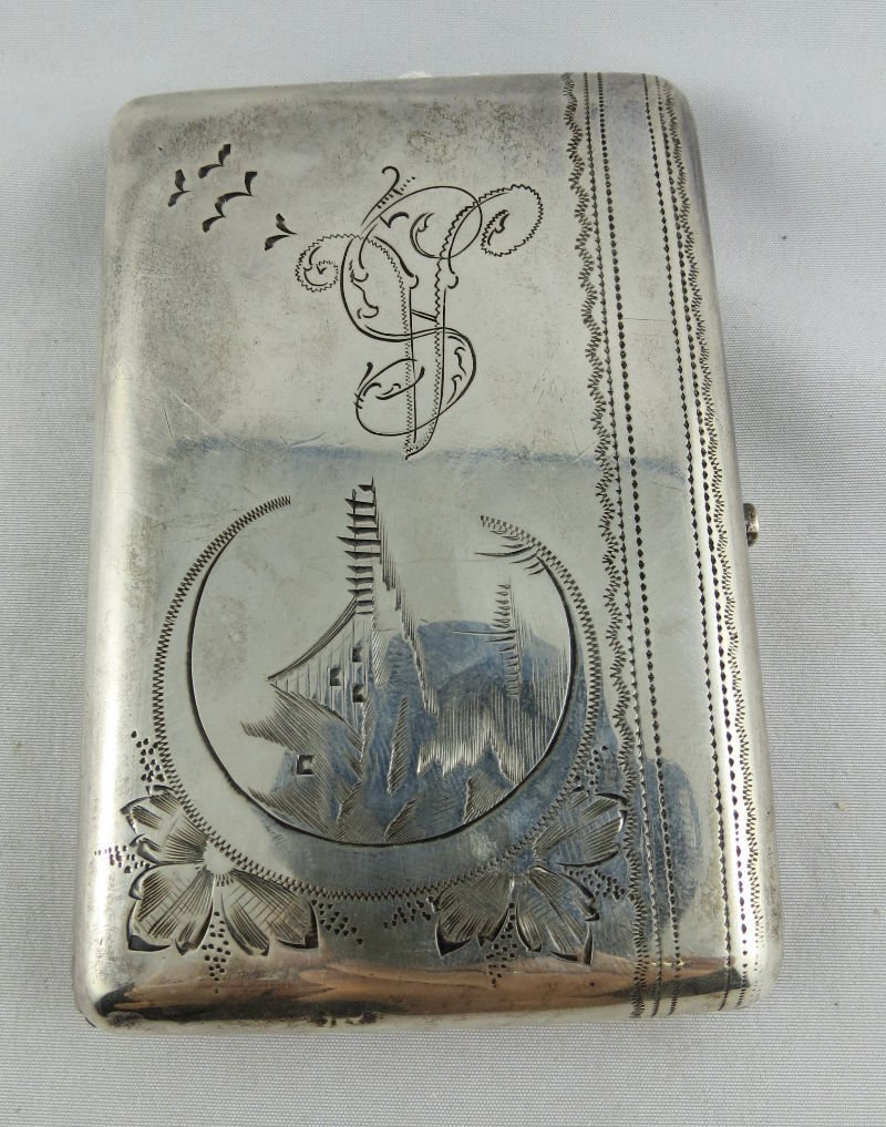 Antique Russian Silver 84 Cigarette Box