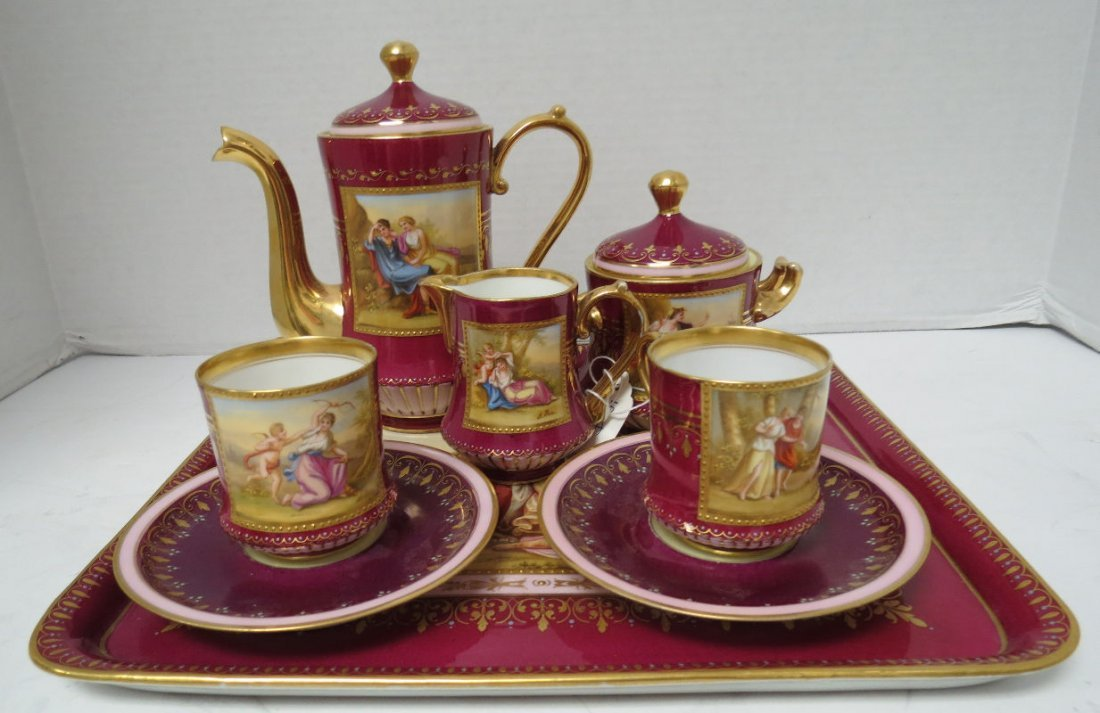 8 Pc. Royal Vienna Hand Painted Porcelain Teaset