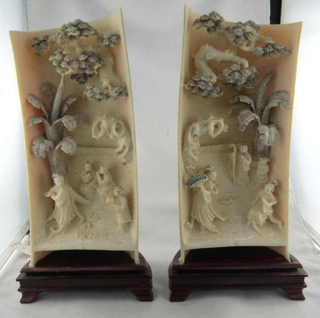 Pair of Large Antique Chinese Hand Carved Ivory