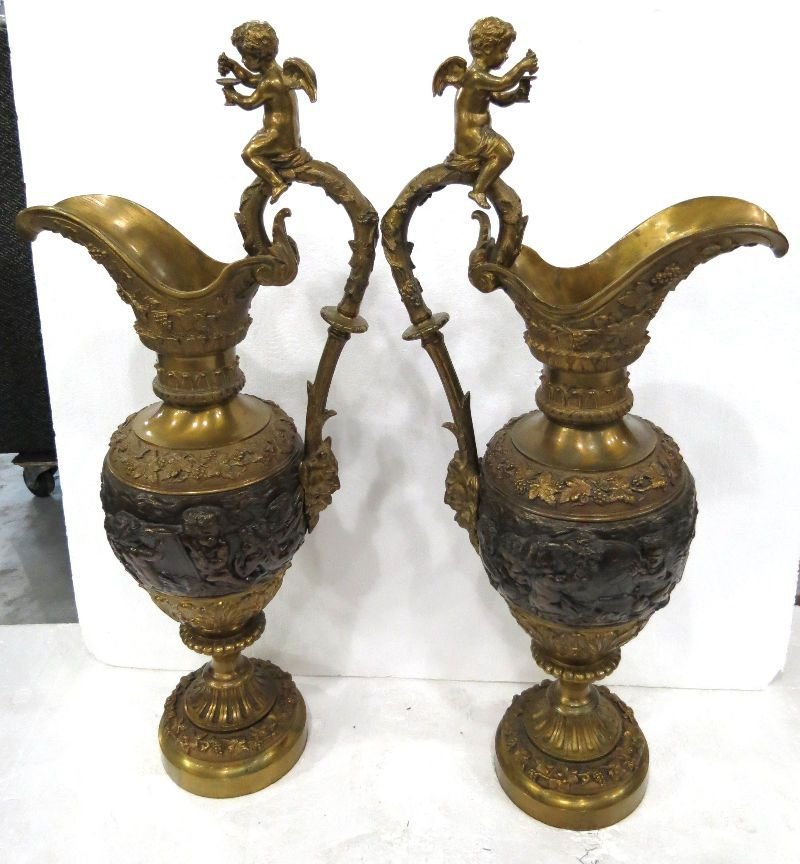 Pair of Palace Size Bronze Figural Urns