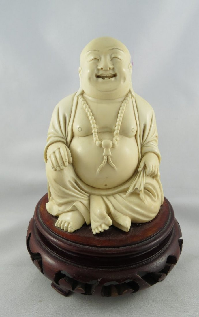 Antique Chinese Hand Carved Ivory Buddha Figure