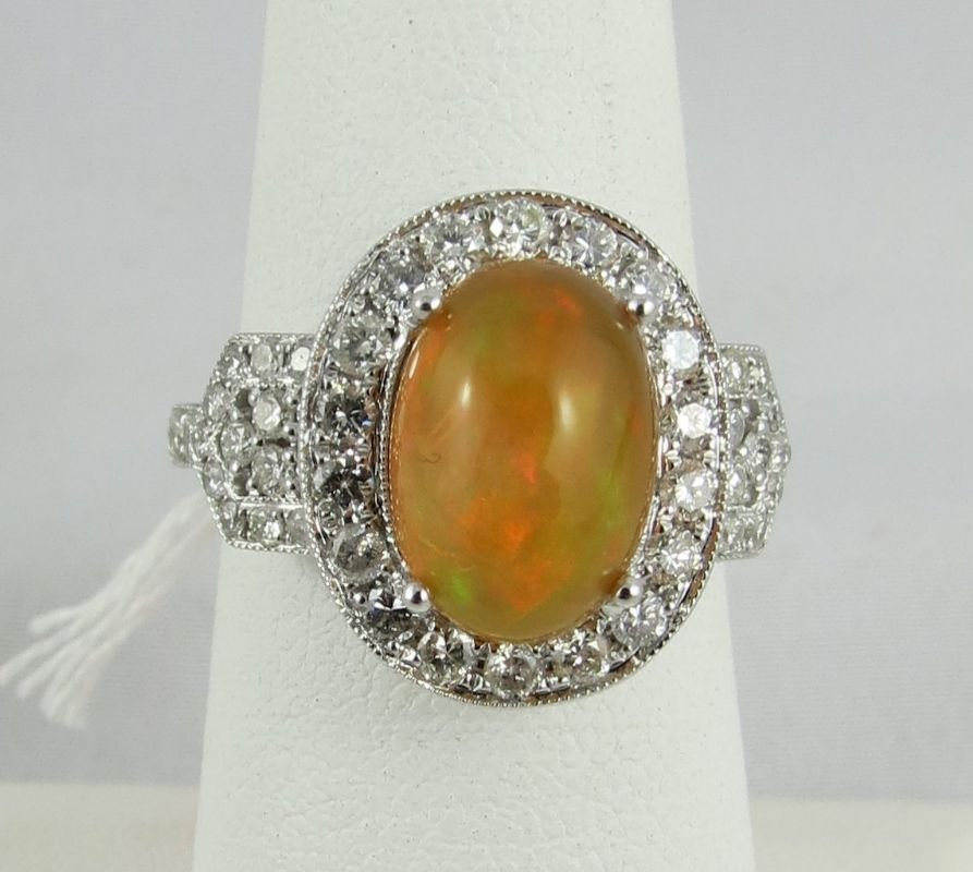 Michael Christoff 18Kt WG 2.30ct Opal & 1.79ct Round