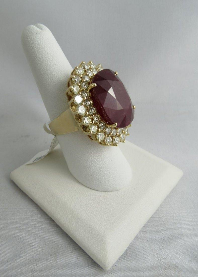 14Kt YG 30ct Ruby & 5ct Diamond Ladies Ring - 2