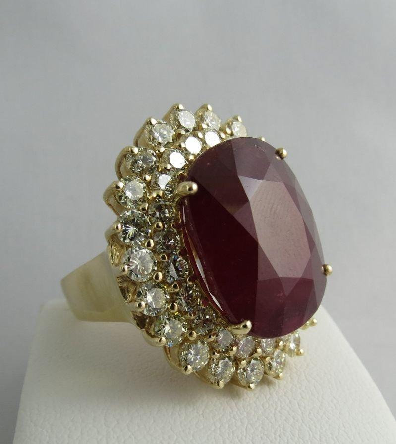 14Kt YG 30ct Ruby & 5ct Diamond Ladies Ring - 3