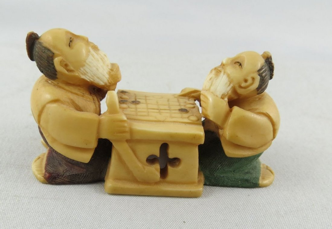 Antique Chinese Polychrome Hand Carved Ivory Netsuke