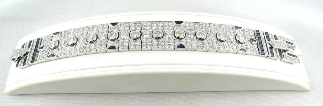 18Kt WG 22.73ct Diamond & 10.09ct Sapphire Bracelet