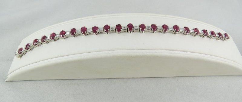 Platinum Ladies Ruby & Baguette Diamond Bracelet