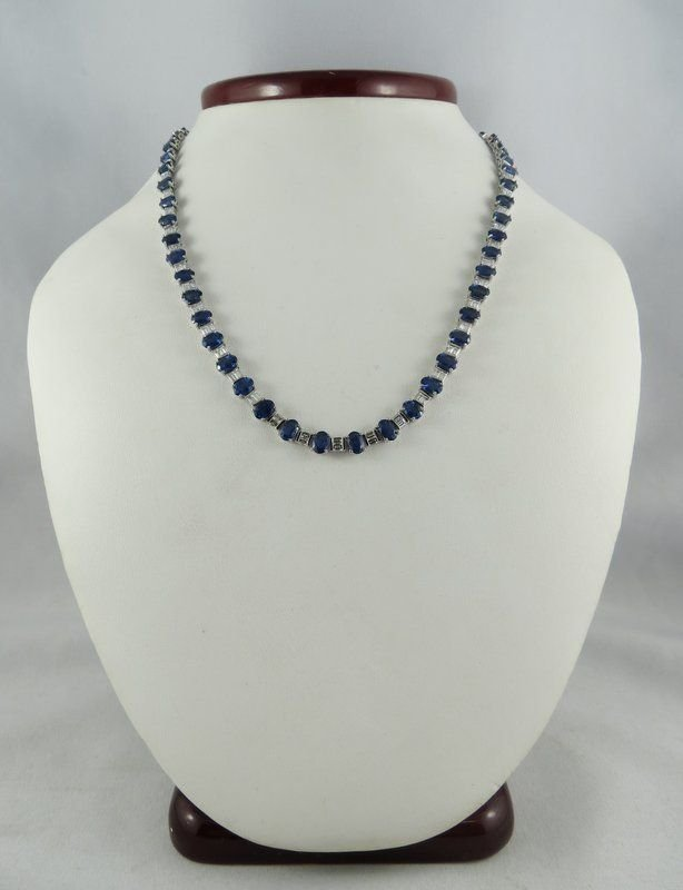 Platinum Ladies Sapphire & Baguette Diamond Necklace