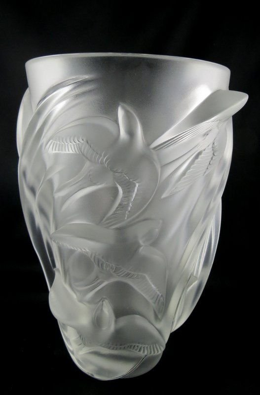 "Lalique ""Martinets"" Crystal Vase"