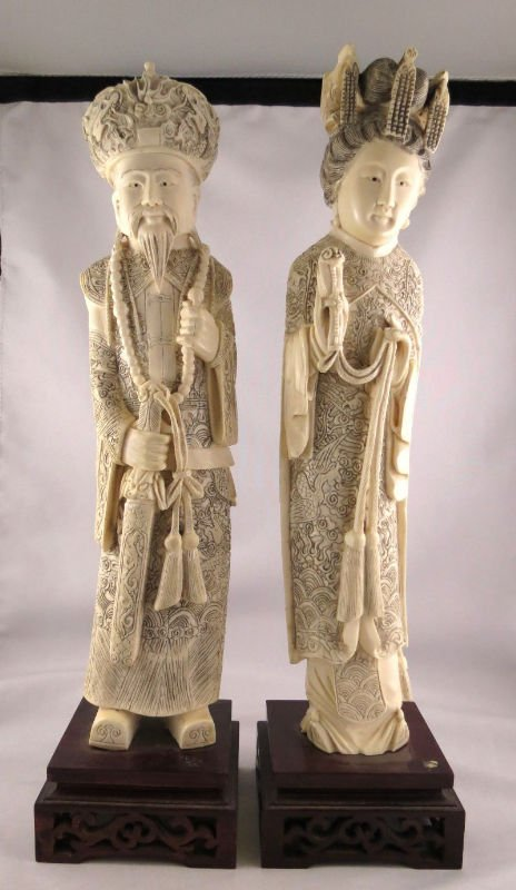 Pair of Chinese Hand Carved Ivory Figures of King &