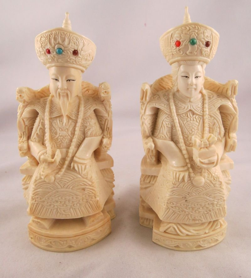 Pair of Hand Carved Ivory Emperor & Empress w/ Precious