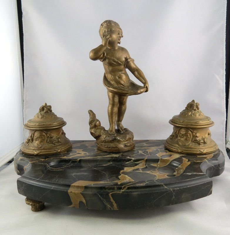 Antique French Bronze Inkwell