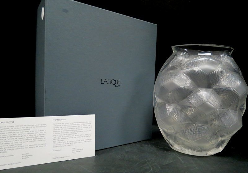 "Lalique Clear Glass ""Tortues"" Vase Circa 2000"