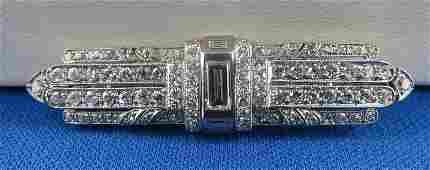 Art Deco Platinum  Diamond Brooch by Palais Royal