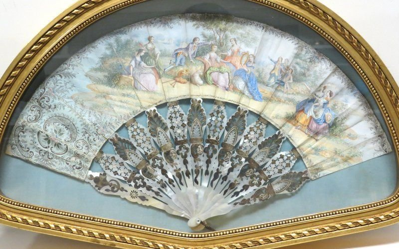 Antique Victorian Hand Painted Fan - 2