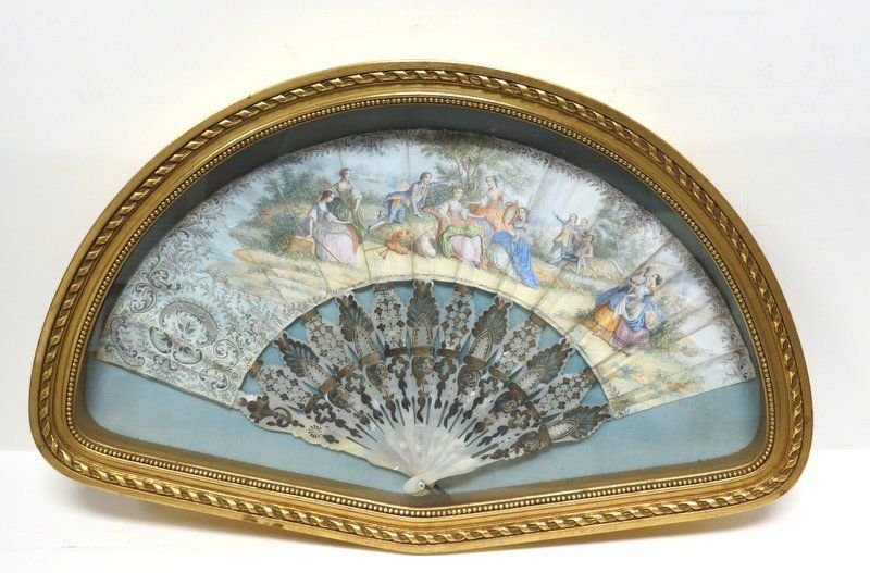 Antique Victorian Hand Painted Fan - 3
