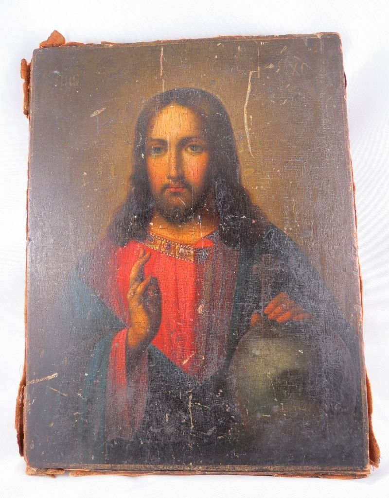 19th C. Russian Hand Painted Icon
