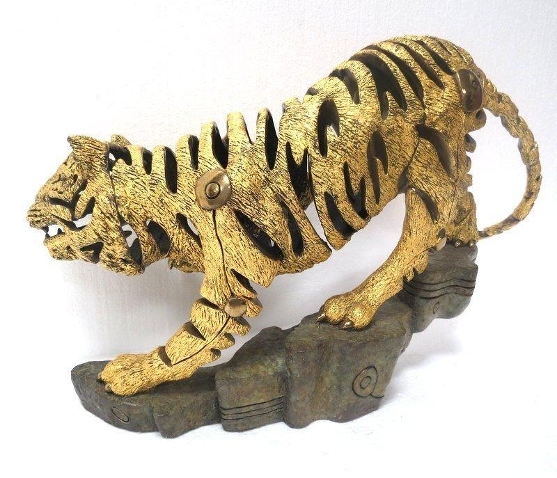 Rare Jiang Tie Feng Bronze Golden Tiger Sculpture - 10
