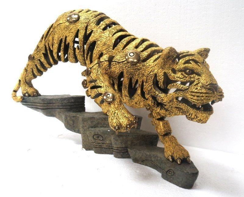 Rare Jiang Tie Feng Bronze Golden Tiger Sculpture