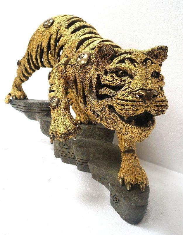 Rare Jiang Tie Feng Bronze Golden Tiger Sculpture - 2