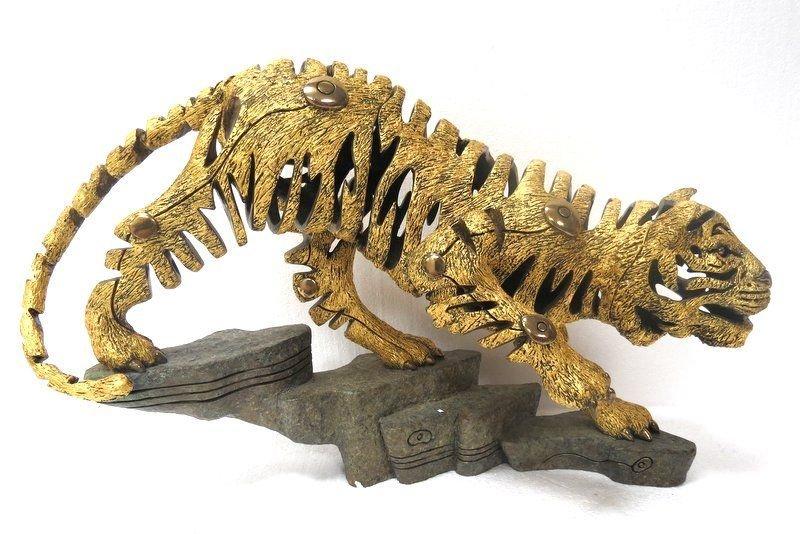 Rare Jiang Tie Feng Bronze Golden Tiger Sculpture - 3
