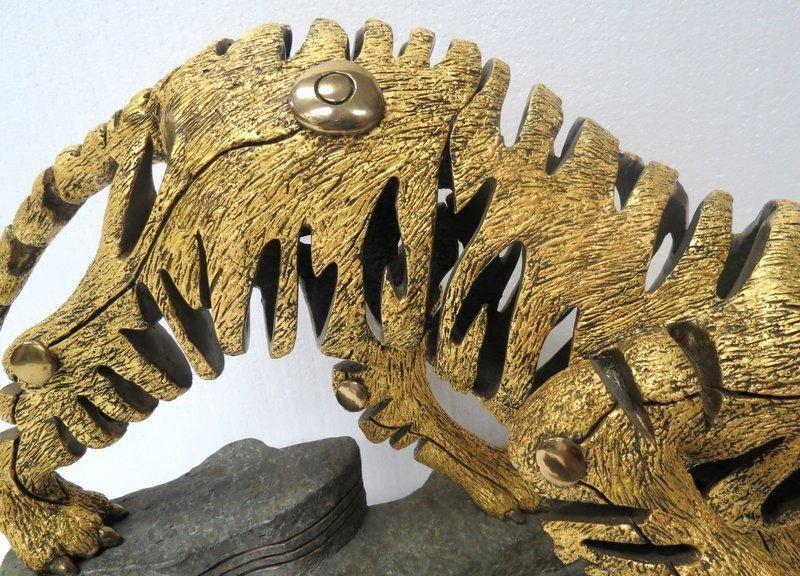 Rare Jiang Tie Feng Bronze Golden Tiger Sculpture - 4
