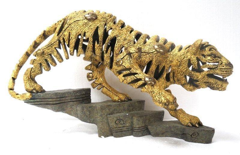Rare Jiang Tie Feng Bronze Golden Tiger Sculpture - 5