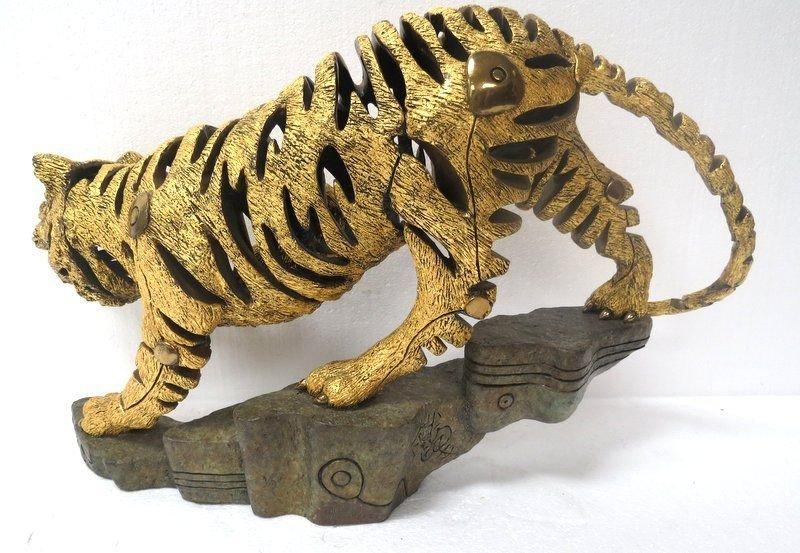 Rare Jiang Tie Feng Bronze Golden Tiger Sculpture - 6
