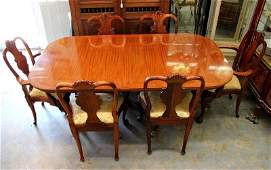 Duncan Phyfe Style Banded Wood Inlaid Dining Room Table