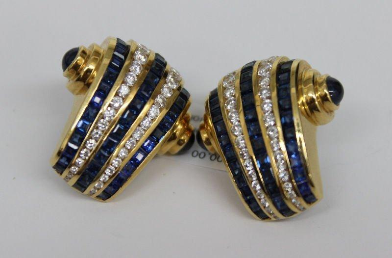 Pair of 18Kt YG Krypell 3.60ct Sapphire & 4.50ct