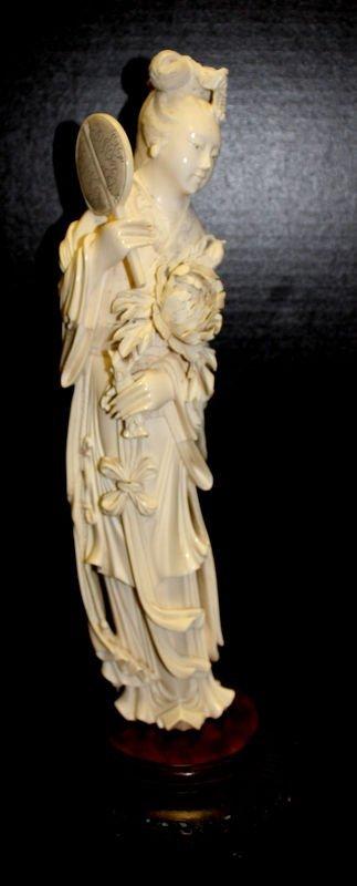 Very Fine 20th C. Carved Ivory Geisha Figurine