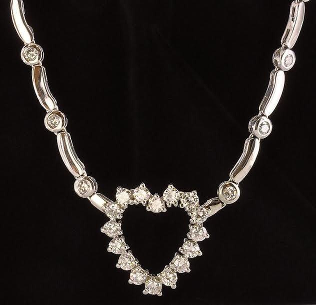 Contemporary 14K White Gold & Diamond Heart Necklace