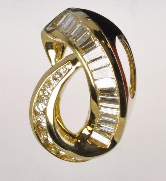 Contemporary 14k Yellow Gold & Diamond Pendant
